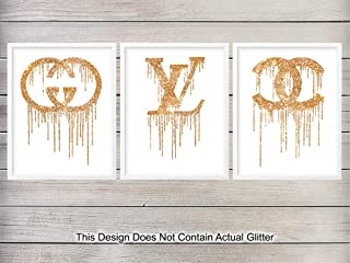 Chanel, Louis Vuitton, Gucci Wall Art Poster Print Set - Great Glam Gift for Fashionistas, Women, Women, Her, Coco and LV Fans - Home Decor and Room Decorations for Bedroom, Dorm, Teens Room
