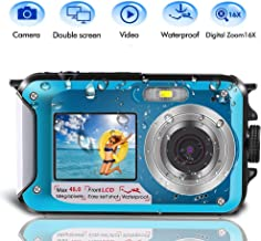 Underwater Camera for Snorkeling, Waterproof Camera, 2.7K 48MP Digital Camera HD Rechargeable Underwater Camera with Dual Screen, Great for Diving Swimming, Camping (Blue)