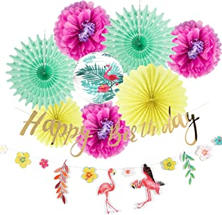 Summer Birthday Party Decorations Kit Pink Flamingo Banner Hawaiian Luau Tropical Party Birthday Hanging Decorations 10 Pieces Easy Joy