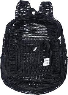 Mochila de malla transparente Gmy Sport Travel School Bookbag See Through Beach Netting Mochila con correas acolchadas para niños, hombres y mujeres (Negro)