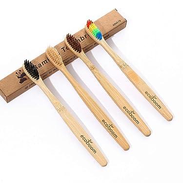 ecoboom Bamboo Toothbrush Biodegradable Natural Charcoal,BPA Free Soft Bristles,Adults Medium Natural Environmentally Friendly - Pack Of 4 … …