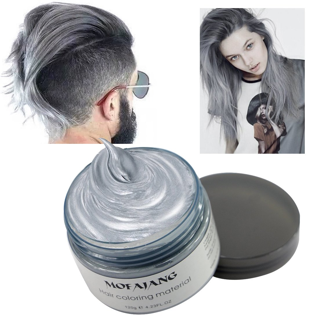 Hair Coloring Wax, Ash Grey Disposable MOFAJANG Instant Matte Hairstyle Mud  Cream Hair Pomades for Kids Men Women to Cosplay Nightclub Masquerade ...
