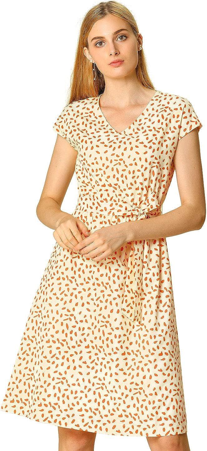 Allegra K Women's Work Casual V Neck Printed Belted A-line Cap Sleeve Midi Dress