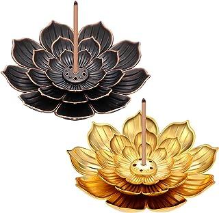 2 Pièces Porte-Lotus en Laiton Porte-Encens de Lotus en Bâton Brûleur d'Encens à Cône avec Capteur de Cendres pour Accesso...