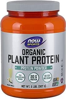 NOW Foods Sports Organic Plant Protein, Creamy Vanilla Powder, 2 Pounds