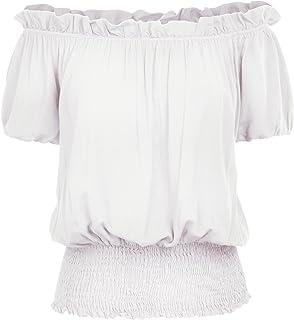 00c2aaa9 Kate Kasin Womens Short Sleeve Ruffle Off Shoulder Boho Blouse Top