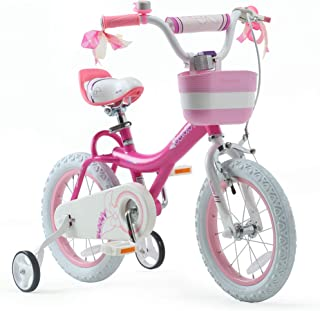 RoyalBaby Girls Kids Bike Jenny 12 14 16 18 20 Inch Bicycle for 3-12 Years Old Child's Cycle with Basket Training Wheels or Kickstand Bike White Pink Fuchsia