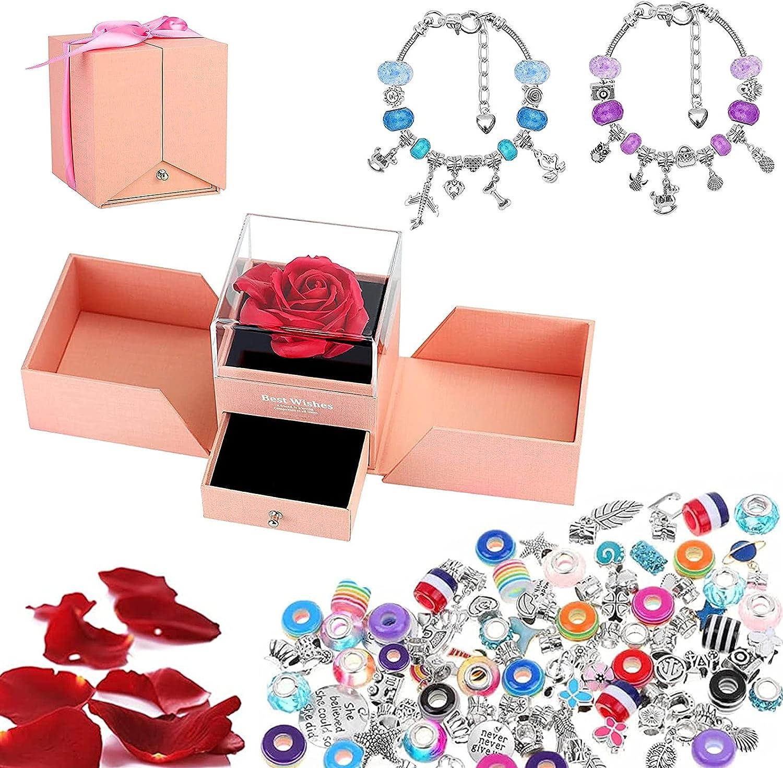 Oryidr Rosas Caja de Joyas Rosa Bella y Bestia ,Rosa Eterna Hecha a Mano para el Pulsera para Niña Creativa ,Regalo de San Valentín, Cumpleaños Mejor Regalo
