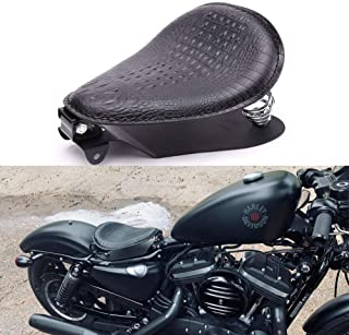 Rich Choices Black Crocodile Leather Solo Seat with Spring Bracket Kit for Harley Davidson Sportster XL 1200 883 48 Chopper Bobber Seats Custom