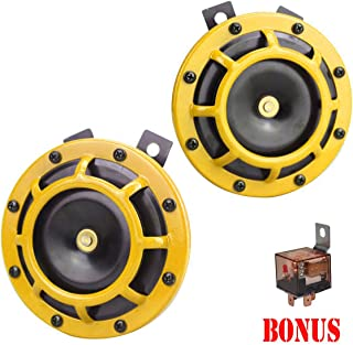 GAMPRO Eletric Car Horn Kit 12V 135db Super Loud High Tone and Low Tone Metal Twin Horn Kit with Bracket for Cars Trucks SUVs RVs Vans Motorcycles Off Road Boats(Yellow)
