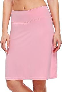 "Willit Women's 20"" Modest Tennis Skirts Knee Length Athletic Golf Sports Skorts Running Skirts Zipper Pocket UV Protection"