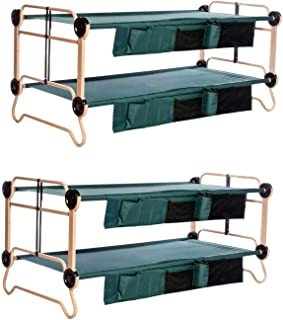 Disc-O-Bed X-Large Cam-O-Bunk Benchable Bunked Double Cot w/Organizers (2 Pack)