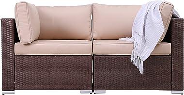 Patio Loveseats 2 Piece Outdoor All Weather Sectional Sofa Rattan Wicker Corner Sofa, Brown Wicker Beige Cushions
