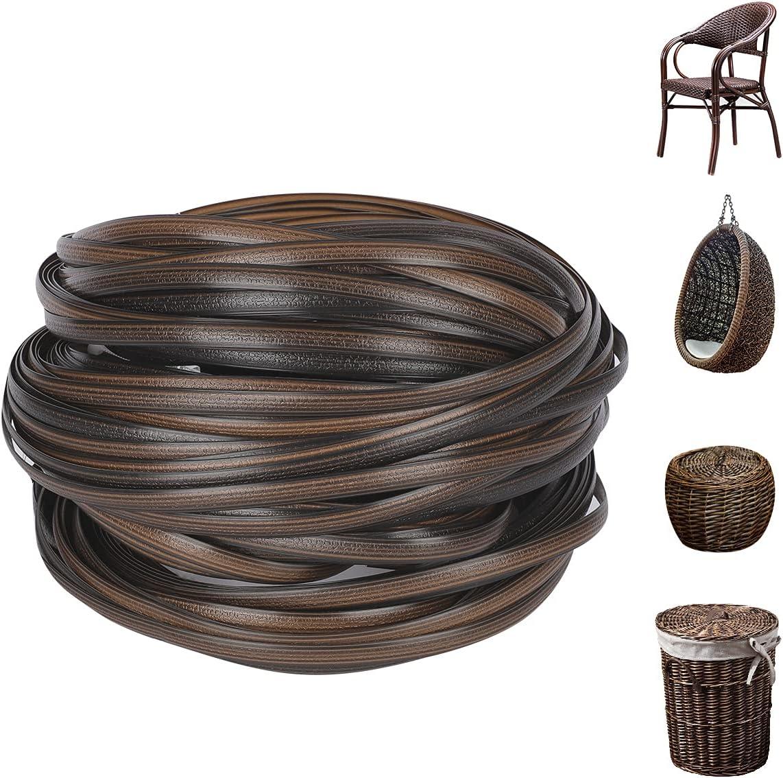 LukLoy Wicker Repair Supplies 120ft Synthetic Rattan Material, Durable Patio Furniture Repair Kit (Gradient Coffee C)