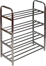Shopper52 Multipurpose Stainless Steel Portable Folding Shoe Rack Storage Organizer Book Cloth Shelf Metal 4 Layer Foot Wear Storage Living Room Furniture Shoerack - STL4SHRK