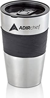 AdirChef 15 oz. Travel Mug, Black/Stainless Steel For Grab N' Go Personal Coffee Maker