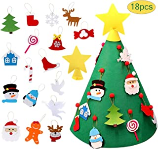 Listenman 3D Felt Christmas Tree, Toddler DIY Xmas Tree with 18PCS Detachable Hanging Ornaments for Kids Xmas Gifts Home Christmas Decoration