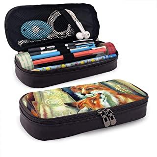 PU Leather Pencil Case with Zipper, Fox Love Large Capacity Storage Marker Case Pen Holder, Cosmetic Makeup Bag, Stationery Organizer Pencil Pouch for School Office
