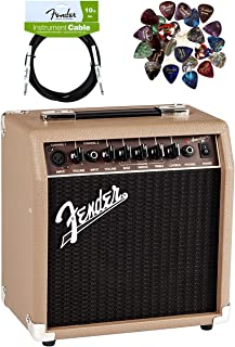 Fender Acoustasonic 15 Acoustic Guitar Amplifier - Brown and Wheat Bundle with Instrument Cable, 24 Picks, and Austin Baza...