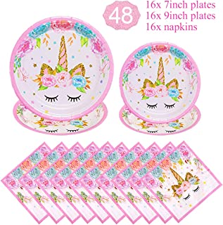 Unicorn Themed Party Supplies Decorations Set for Girls Children Birthday Party,Unicorn Plates and Napkins Set,Paper Dispo...