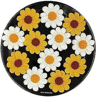 NAVA CHIANGMAI Handmade Beautiful Crochet Flowers Petals Craft Sewing Crocheted Flowers Appliques Embellishments (White and Yellow Daisy)