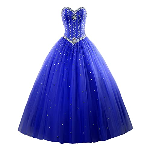 f1b279a8693 Erosebridal Long Prom Dress Tulle Sweetheart Beaded Quinceanera Dress
