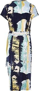Belle Bird Womens Calf Length Dresses Belle Aqua Cap Sleeve Wrap Dress Aquaprin