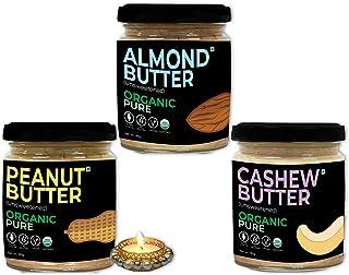 d alive Diwali / Deepawali Gift Set - Almond Butter + Peanut Butter + Cashew Butter + Diya - 540g (Sugar-free, USDA Organi...