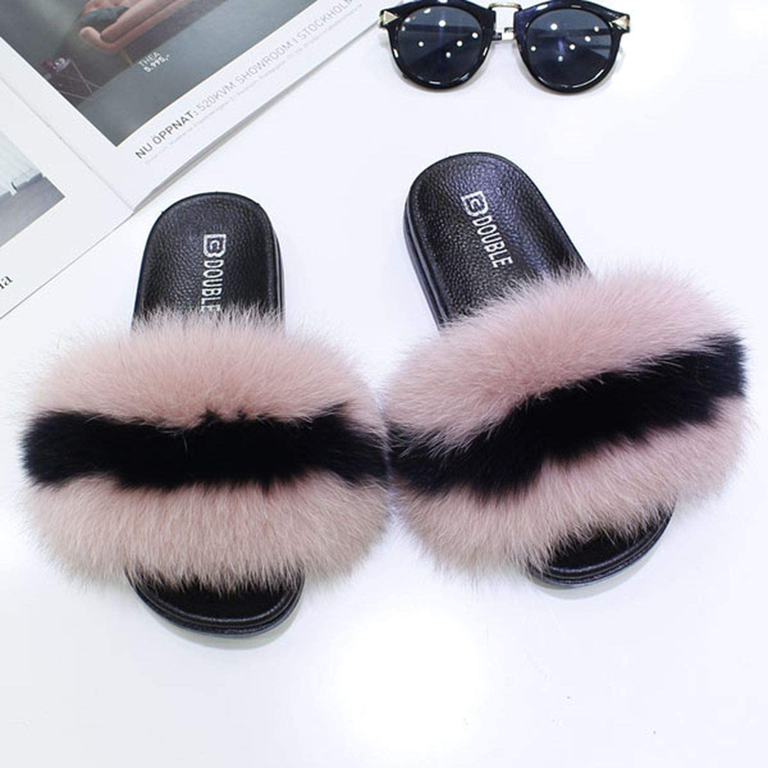 High end 2018 Brand Women Fur Slippers Fluffy Real Fox Hair Slides Flat Soft Indoor Flip Flops Ladies Plush shoes Woman Sandals S300