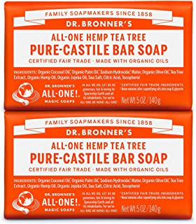 Dr. Bronner's - Pure-Castile Bar Soap (Tea Tree, 5 ounce, 2-Pack) - Made with Organic Oils, For Face, Body, Hair and Dandr...