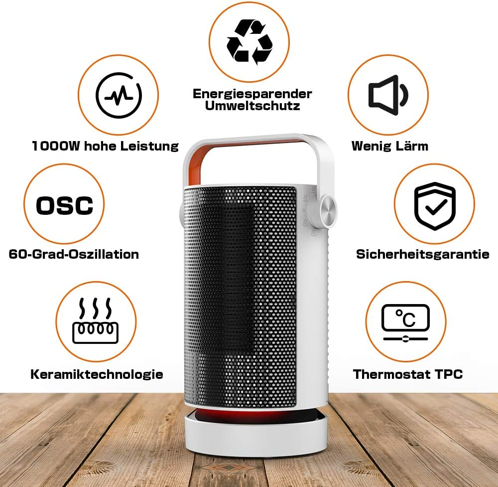 Qfun Radiateur Soufflant 1500W Chauffage dappoint Silence,Oscillation Automatique Blanc F/ácil de Transportar Chauffage Soufflant