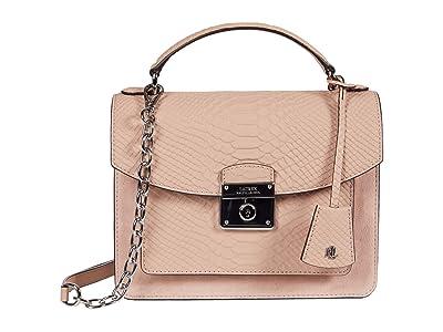LAUREN Ralph Lauren Heritage Lock Matte Python Suede Beckett 23 Satchel Medium (Mellow Pink) Handbags