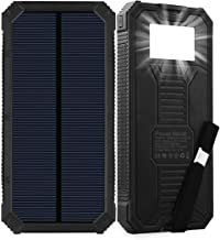 Solar Charger, Friengood 15000mAh Portable Solar Power Bank with Dual USB Output Ports, Solar Phone Charger External Battery Pack with 6 LED Flashlight Light for iPhone, iPad, Android and More - Black