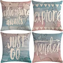 """ULOVE LOVE YOURSELF Geography World Map Pillow Cases Adventure Awaits Explore Wonder Decorative Throw Pillow Covers Ocean Theme Cushion Covers 18""""×18"""",4pack(World Map)"""