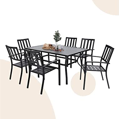 MFSTUDIO 7-Piece Metal Outdoor Patio Dining Bistro Set with 6 Striped Armrest Chairs and Steel Frame Slat Larger Rectangular