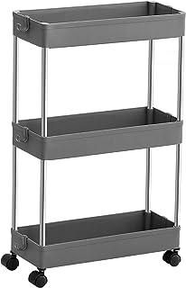 SONGMICS Wózek z 3 poziomami, wózek kuchenny, wąska, wnękowa półka na kółkach, oszczędzająca miejsce półka łazienkowa, pół...