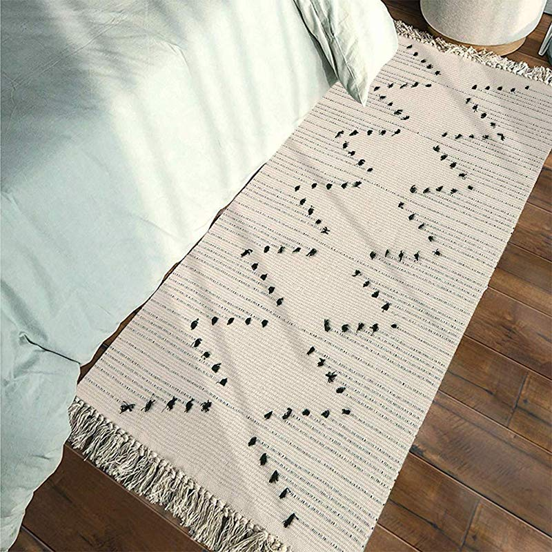 Tassels Boho Rug Runner Moroccan Rug 2 X 4 3 Cotton Woven Throw Small Chindic Rag Rug Beige With Black Geometric Decorative Rugs For Entryway Indoor Bathroom Bedroom Living Room Laundry Room
