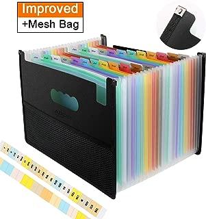 Accordian File Organizer 24 Pockets Expanding File Folder with Unique Mesh Bag Design, Portable A4 Letter Size Filing Box, Alphabetical Accordion Expandable File Organizer for Document/Bill/Receipt