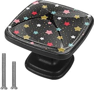 Étoiles et Points colorés Boutons D'armoire 4 Pcs Poignés Poignée De Champignons Boutons D'aluminium Porte Poignées avec V...