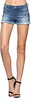 Flying Monkey Vervet Women's Mid Rise Bejeweled Fray Hem Shorts
