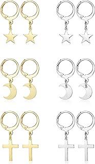 6 Pairs Small Hoop Huggie Earrings for Women Girls Stainless Steel Tiny Cross Star Moon Dangle Hoop Earrings Set