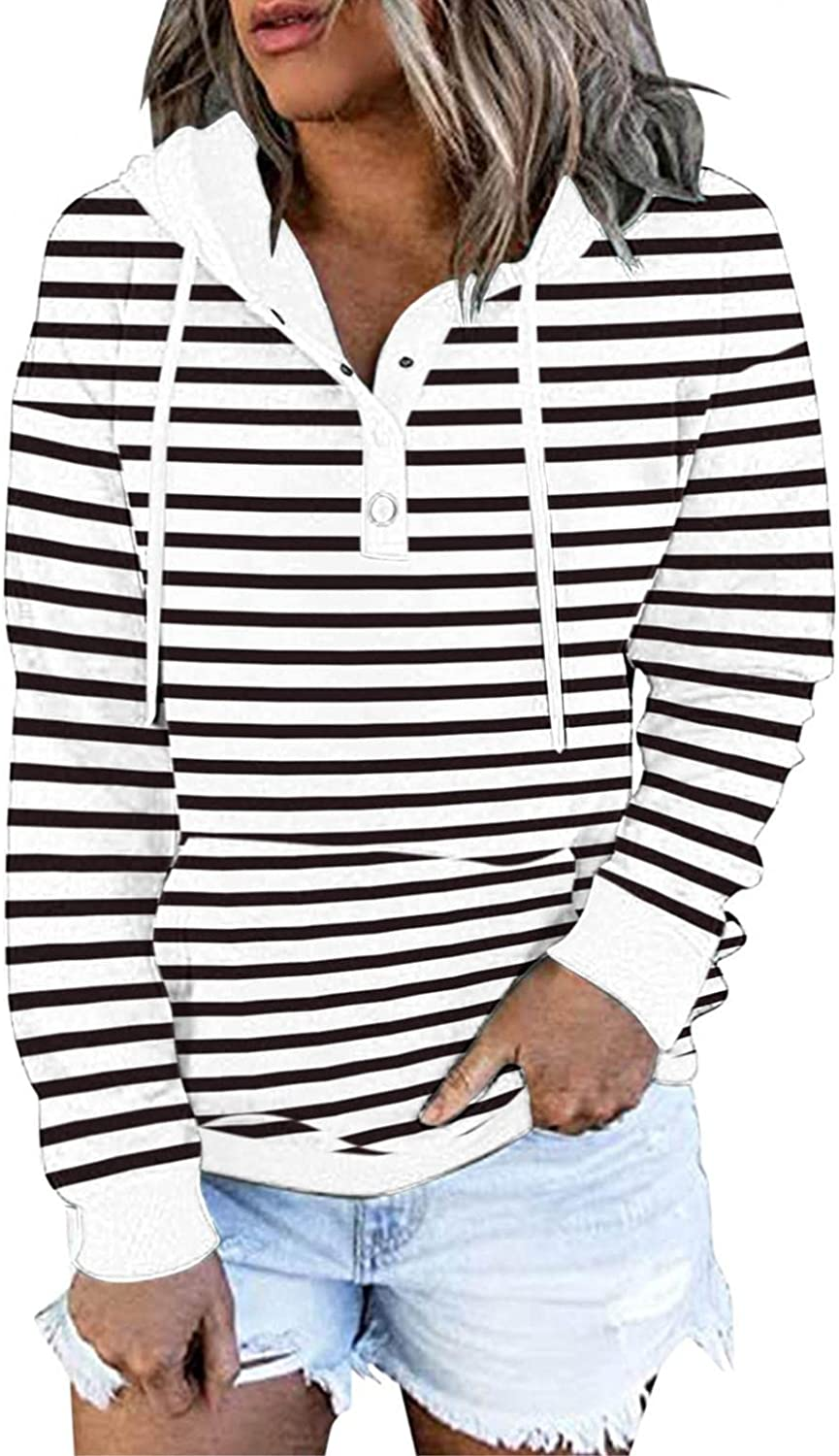 COMVALUE Womens Hoodies,Drawstring Pullover Striped Long Sleeve Button Down V Neck Sweatshirts