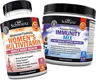 Multivitamin for Women with Vitamin D3 for Skin, Bone and Breast Support + Immunity Drink Mix with Vitamin C 1000 mg, Elde...