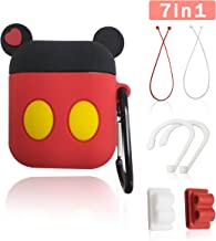 Airpods Accessories, WERONE 7 in 1 Cute Cartoon Silicone Earphone Case Cover Protective Clip Skin for AirPods (MickeyA)