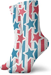 Vintage Little Stars and Stripes Pattern Socks Colorful Cool Sport Athletic Calcetines for Men & Women