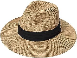 YaToy Women Panama Sun Hat Summer Wide Brim Straw Beach Cap