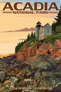 Acadia National Park, Maine - Bass Harbor Lighthouse (9x12 Art Print, Wall Decor Travel Poster)