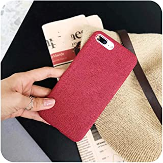 Cloth Texture Soft case for iPhone 7 8 6 6s Plus Case for iPhone X Xs max XR Ultra Thin Canvas Grid Pattern Phone Cases,for iPhone Xs,-Red