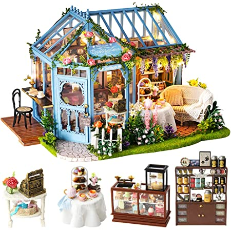 CUTEBEE Dollhouse Miniature with Furniture, DIY Dollhouse Kit Plus Dust Proof and Music Movement, 1:24 Scale Creative Room for Valentine's Day Gift Idea (Rose Garden Tea House)
