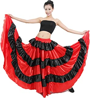 フラメンコ 女の子 ダンス衣装 スカート コスチューム ベリーダンス服 ドレス ラテン衣装 円形スカート レディース コンサート 発表会 ステージ (180°)